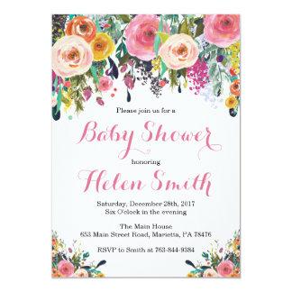 Aguarela floral do cartão do convite do chá de