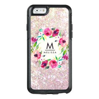 Aguarela floral do monograma cor-de-rosa do brilho