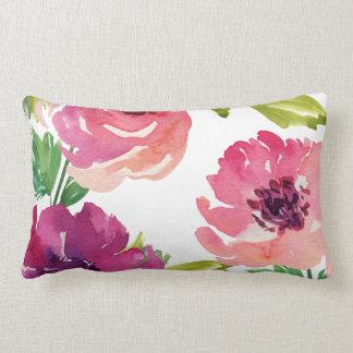 Aguarela floral no rosa e no roxo almofada lombar