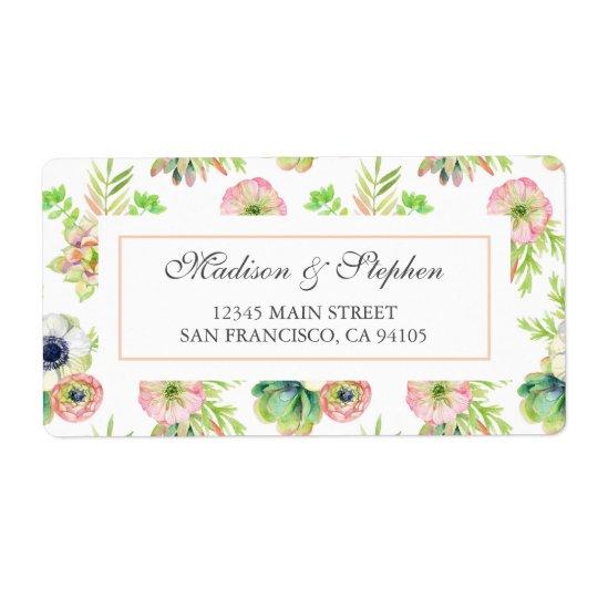 Aguarela floral & Succulents - casamento Etiqueta De Frete
