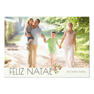 Aguarela foto moderna Feliz Natal Convite 12.7 X 17.78cm