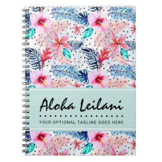 Aguarela havaiana tropical do hibiscus & da folha cadernos