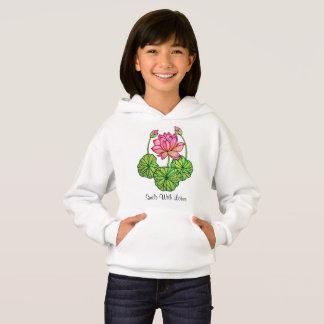 Aguarela Lotus cor-de-rosa com botões & folhas