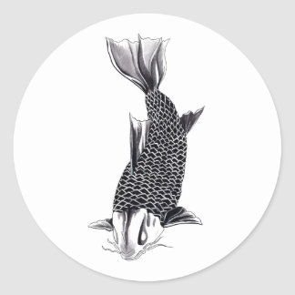 Aguarela oriental legal dos peixes da carpa de Koi Adesivo Em Formato Redondo