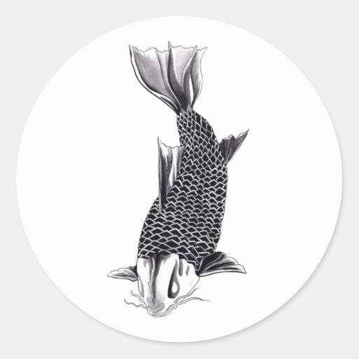 Aguarela oriental legal dos peixes da carpa de Koi Adesivo