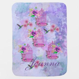 Aguarela roxa da fantasia do Birdcage floral Cobertor De Bebe