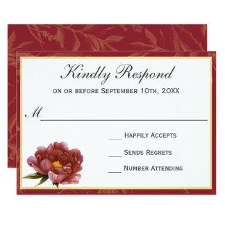 Aguarela RSVP floral do esplendor de Marsala Convite 8.89 X 12.7cm