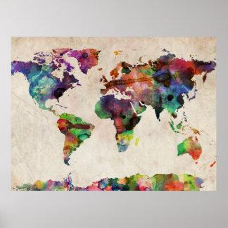 Aguarela urbana do mapa do mundo pôster