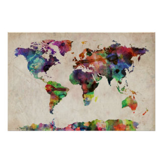 Aguarela urbana do mapa do mundo posters