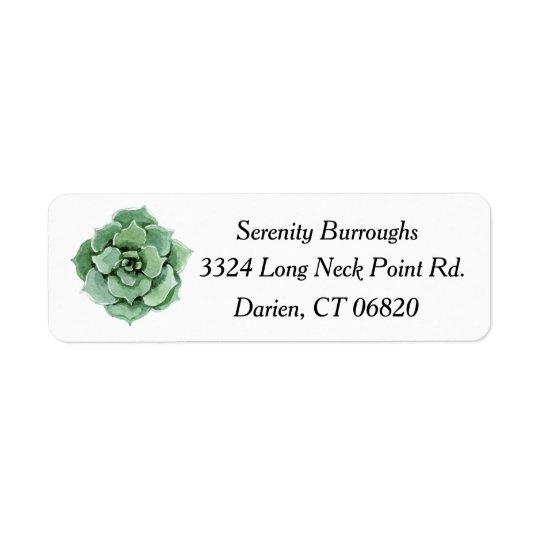 Aguarela verde do cacto do Succulent da hortelã Etiqueta Endereço De Retorno