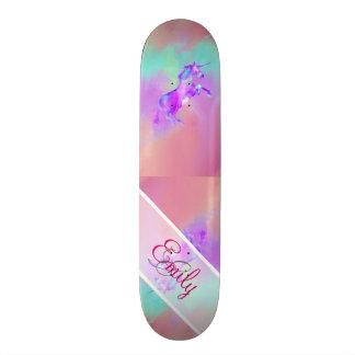 Aguarelas cor-de-rosa bonitos do roxo da cerceta shape de skate 18,4cm