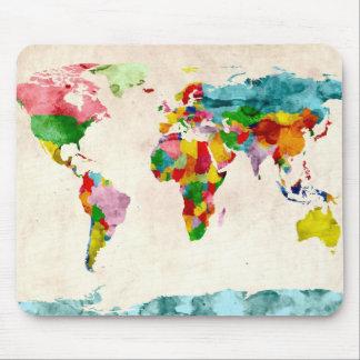 Aguarelas do mapa do mundo mouse pad