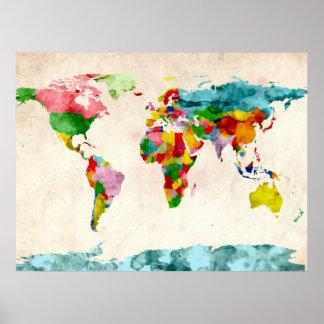 Aguarelas do mapa do mundo pôster