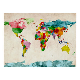 Aguarelas do mapa do mundo posteres
