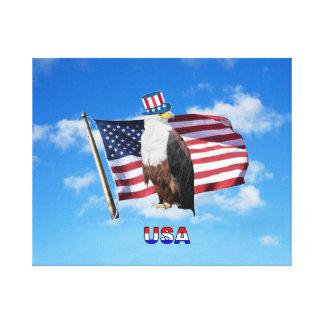Águia americana americana e bandeira americana
