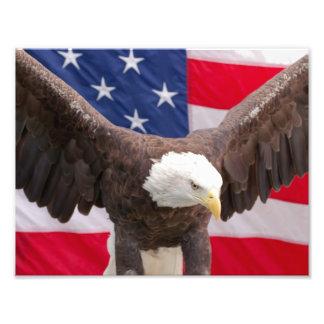 Águia americana com o quebra-cabeça da bandeira impressão de foto