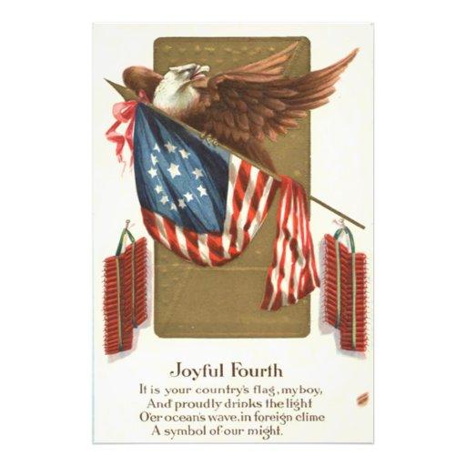 Águia americana da bandeira dos E.U. do foguete do Impressão De Fotos