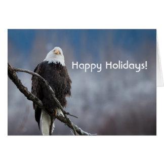 Águia americana em um cartão do feriado da árvore