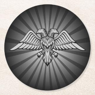 Águia cinzenta com duas cabeças porta-copo de papel redondo