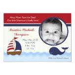 Ahoy anúncio náutico do nascimento da foto da convites personalizados