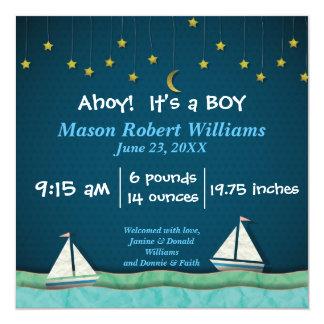 Ahoy, é um barco do MENINO & estrelas - anúncio do Convite Quadrado 13.35 X 13.35cm