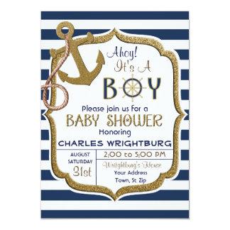 Ahoy é um convite náutico do bebê do tema do