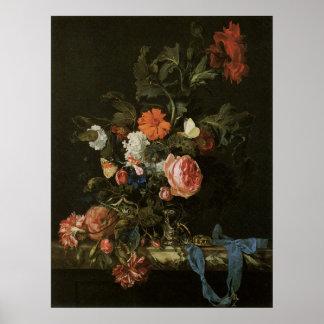 Ainda flores florais da vida no vaso, vintage pôster