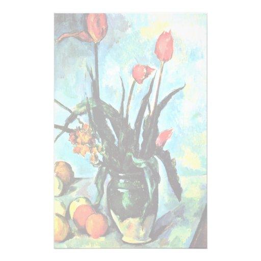 Ainda vaso da vida com as tulipas por Paul Cézanne Papéis Personalizados