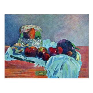 Ainda vida com cesta e faca de fruta por Gauguin Cartão Postal