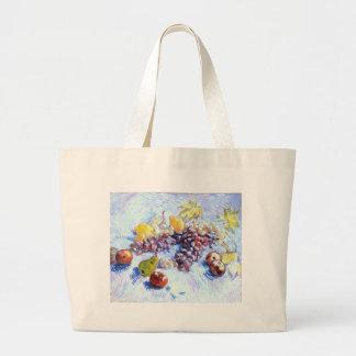 Ainda vida com maçãs, peras, uvas - Van Gogh Bolsa Tote Grande