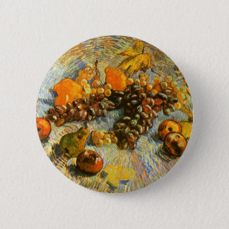 Ainda vida com maçãs, peras, uvas - Van Gogh Bóton Redondo 5.08cm