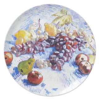 Ainda vida com maçãs, peras, uvas - Van Gogh Prato De Festa