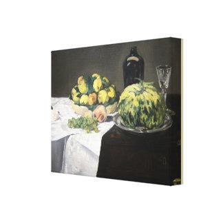 Ainda vida com melão e pêssegos por Edouard Manet Impressão Em Tela