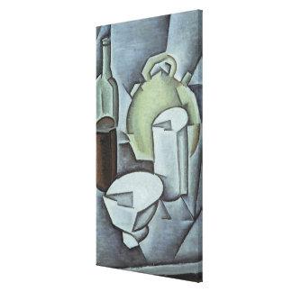 Ainda vida com uma garrafa do vinho e de um Earthe Impressão De Canvas Esticadas