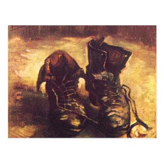 Ainda vida, par de sapatos de A por Vincent van Go Cartoes Postais