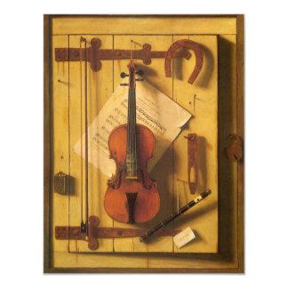 Ainda violino e música da vida por Harnett Convite 10.79 X 13.97cm