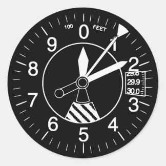 Aircraft Altimeter Gauge Round Sticker