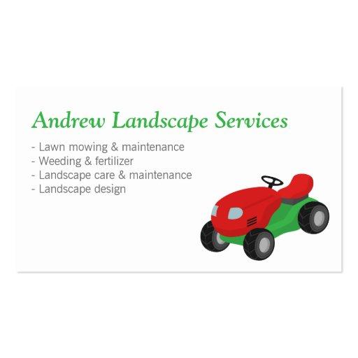 Ajardinando serviços de manutenção, trator de sega cartão de visita