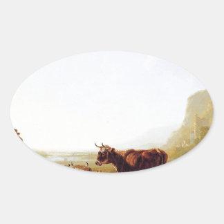 Ajardine com as vacas de descanso por Jacob Adesivo Oval