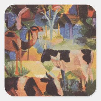 Ajardine com vacas e um camelo daqui até agosto adesivo quadrado
