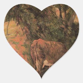 Ajardine com vacas em um pomar por Paul Gauguin Adesivo Coração
