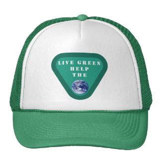 Ajuda verde viva o chapéu do planeta boné