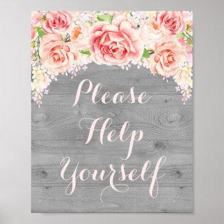 Ajude-se por favor a assinar a madeira cor-de-rosa pôster