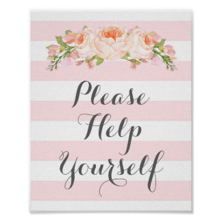 Ajude-se por favor a assinar listras cor-de-rosa pôster