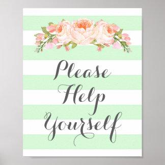 Ajude-se por favor a assinar listras das flores da pôster
