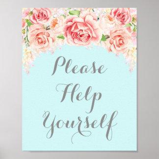 Ajude-se por favor a assinar o azul cor-de-rosa da pôster