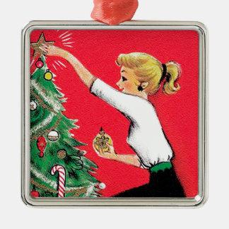Ajustador da árvore de Natal do anos 50 Ornamento Quadrado Cor Prata