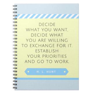 Ajuste seu caderno das prioridades