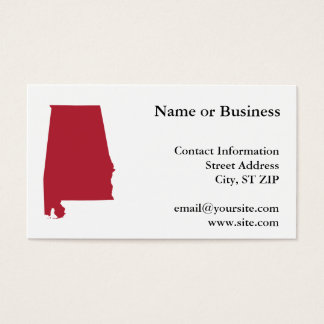 Alabama no vermelho cartão de visitas