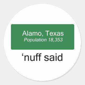Alamo Nuff disse Adesivo
